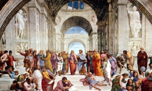 The School of Athens by Raphael, featuring Plato and Aristotle in the centre