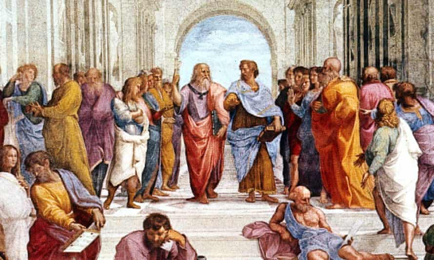 Aristotle (wearing blue, centre) is part of a bewildering chain of Cockney rhymes.
