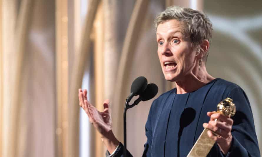Frances McDormand accepting the best actress (drama) award for her role in Three Billboards Outside Ebbing, Missouri