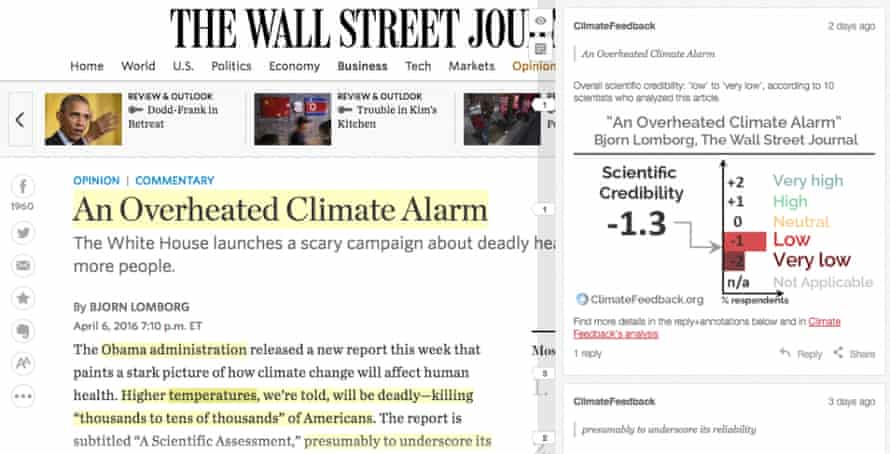 An example of Climate Feedback in action. Scientists' comments and ratings appear as a layer over the article. Text annotated with Hypothesis is highlighted in yellow in the web browser and scientists' comments appear in a sidebar next to the article.