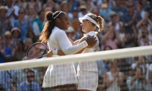 Serena Williams congratulates Angelique Kerber after losing 3-6, 3-6 to the German in the Wimbledon final.