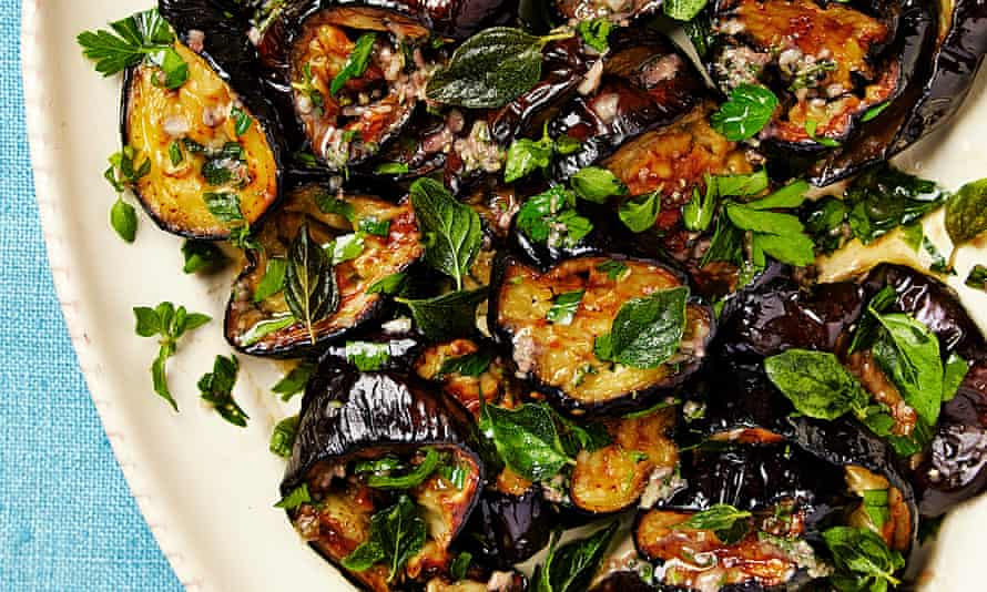Yotam Ottolenghi's roast aubergine with anchovies and oregano.
