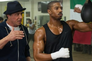 Michael B Jordan as Adonis Johnson and Sylvester Stallone as Rocky Balboa in Creed.