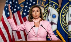 Nancy Pelosi speaks to the media in the US Capitol in Washington.