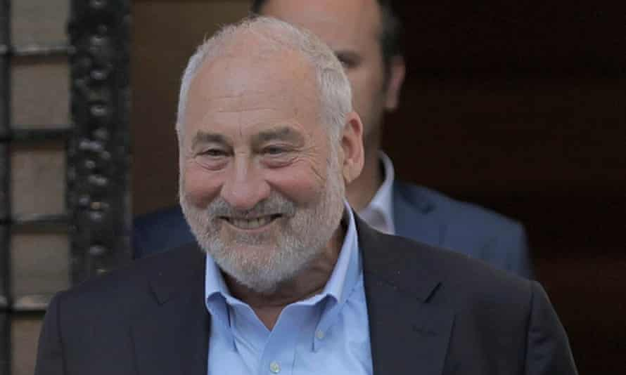Nobel prize-winning economist Joseph Stiglitz leaves a meeting with Greek finance minister, Euclid Tsakalotos, in Athens earlier this month. EPA/ORESTIS PANAGIOTOU