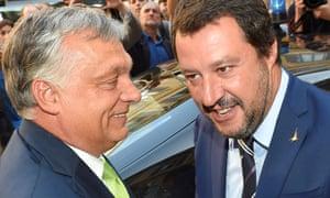 Viktor Orbán with Italy's interior minister, Matteo Salvini