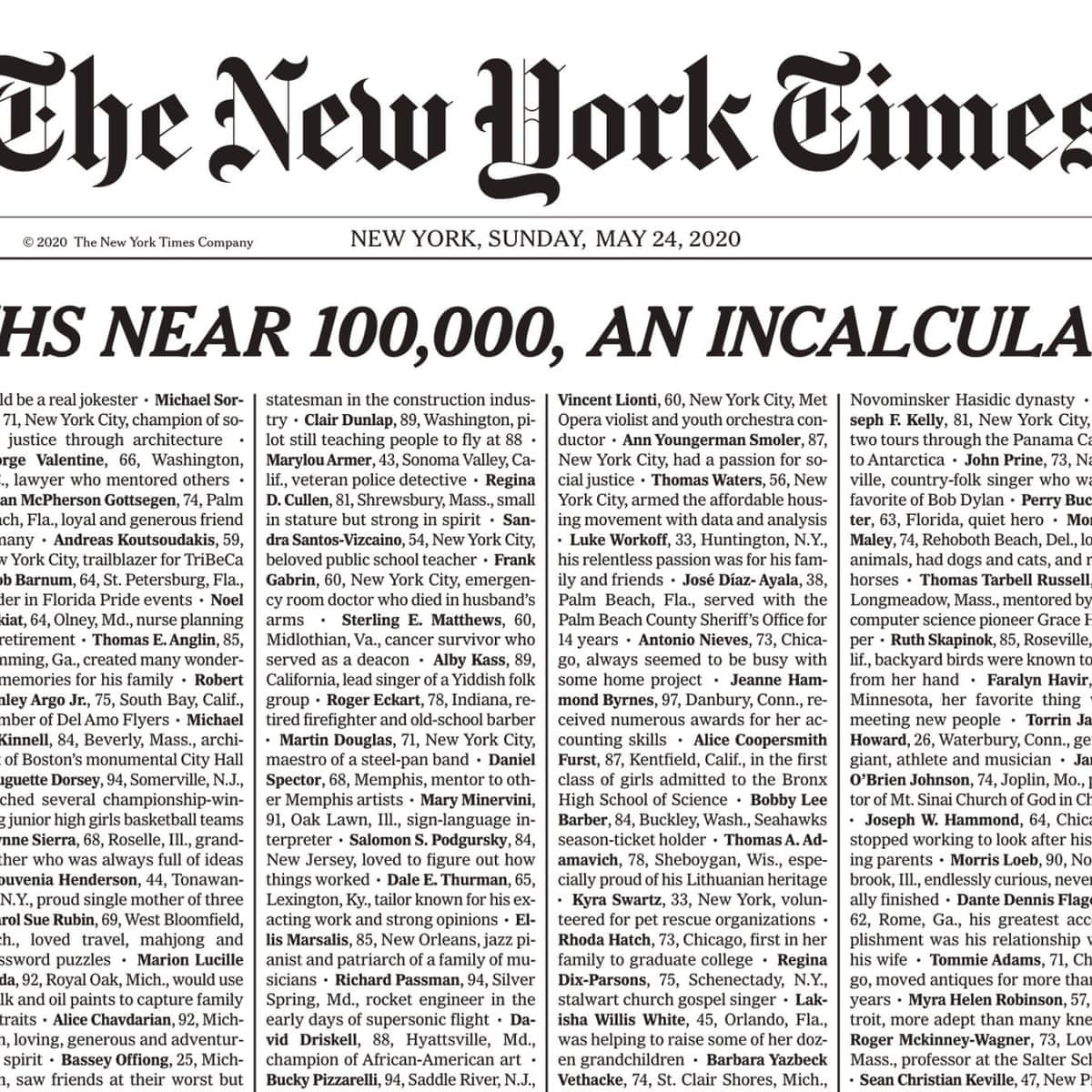 Incalculable Loss New York Times Covers Front Page With 1 000 Covid 19 Death Notices World News The Guardian