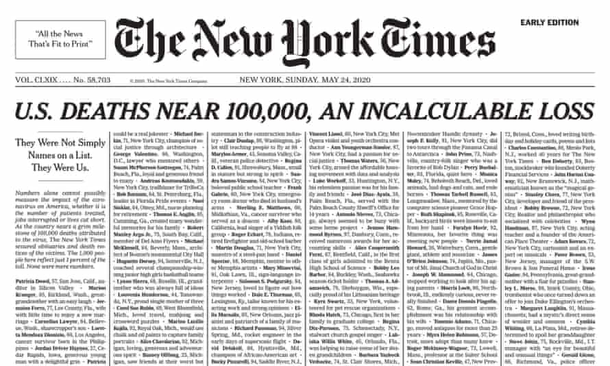 New York Times front page of 24 May 2020