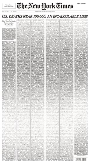 New York Times front page of 24 May 2020.