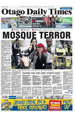 Otago Daily Times on 16 March 2019 after Christchurch shooting