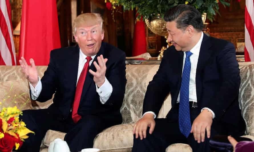 Donald Trump with China's Xi Jinping at Mar-a-Lago in 2017