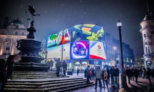 Piccadilly Circus in London during storm Emma in March