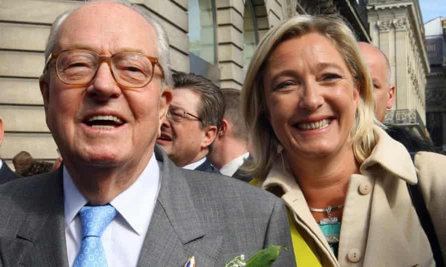 Marine Le Pen attending a wreath-laying ceremony with her father Jean-Marie at the statue of Joan of Arc in Paris.
