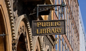 A sign outside Hereford public library.
