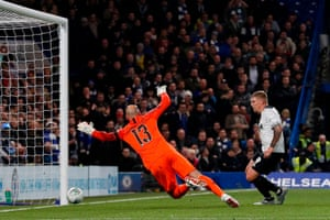 Martyn Waghorn fires the ball past Chelsea's goalkeeper Willy Caballero to put Derby County back on level terms.