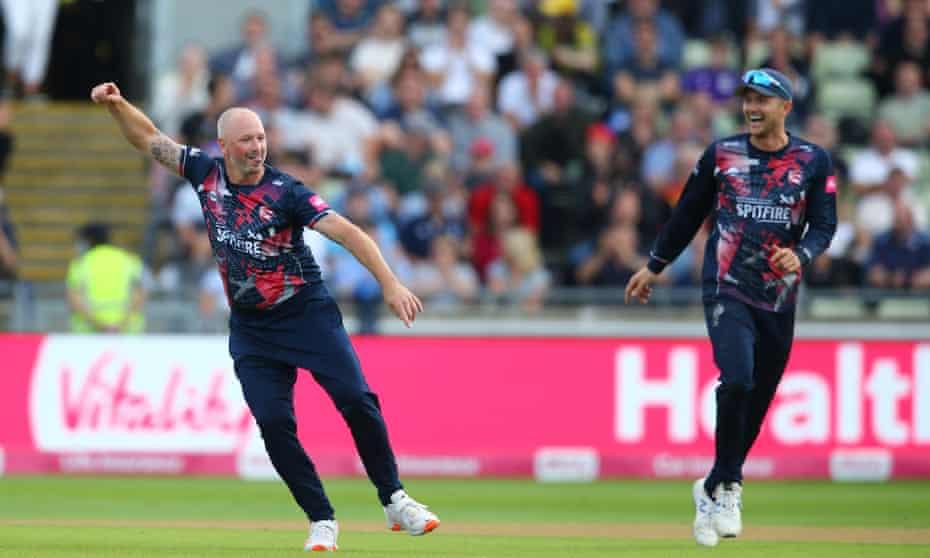 Kent's Darren Stevens celebrates taking a wicket