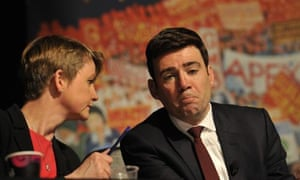 Labour leadership candidates Yvette Cooper and Andy Burnham on stage at the hustings in Dublin on Tuesday.