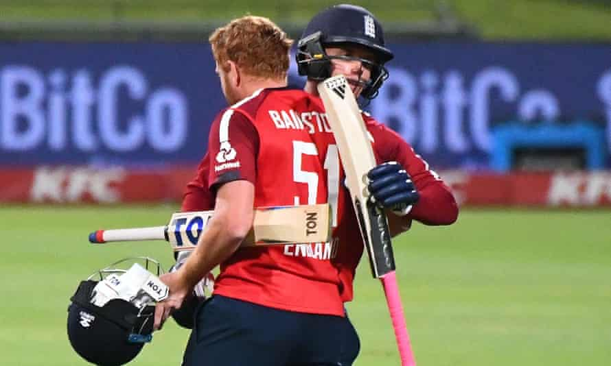 England's Sam Curran (right) and Jonny Bairstow celebrate victory in the first T20 international in South Africa last November.