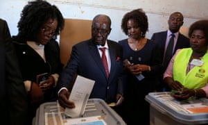 Zimbabwe's former president Robert Mugabe casts his vote in Harare