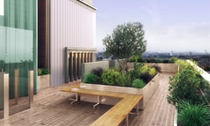 Mapleton Crescent's communal roof terrace (CGI).