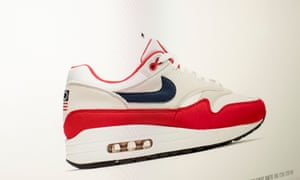 Nike's Air Max 1 sneakers, features 13 white stars in a circle. The flag has been embraced by white nationalists and the American Nazi party.