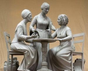 Sculpture of Sojourner Truth, left, Susan B Anthony, center, and Elizabeth Cady Stanton by Meredith Bergmann.