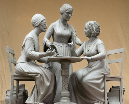 Sculpture of Sojourner Truth, left, Susan B Anthony, center, and Elizabeth Cady Stanton by Meredith Bergmann.