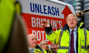 Boris Johnson doing a Q&A at Fergusons Transport in the town of Washington, west of Sunderland.