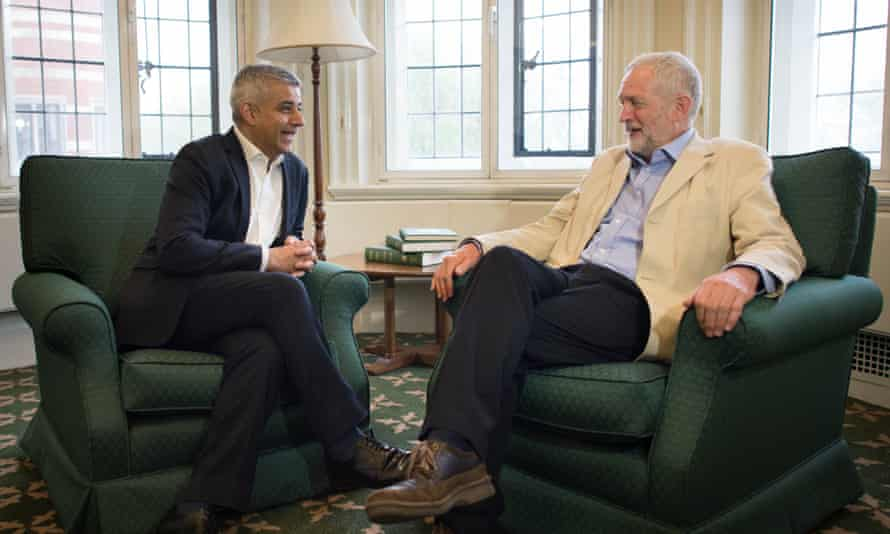 Labour party leader Jeremy Corbyn meets with newly elected Mayor of London Sadiq Khan at Mr Corbyn's office in the House of Commons, London.
