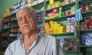 Shopkeeper Noel Segura, 70, from Uribe