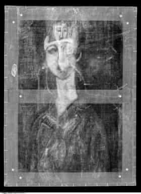 The X-ray that first uncovered the face beneath Modigliani's 1917 work