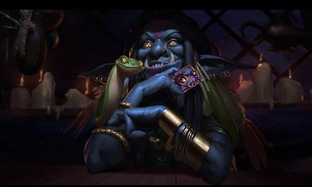 A character from Hearthstone holds a Hearthstone card in the announcement trailer for Whispers of the Old Gods.