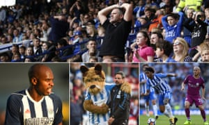 Dejected Leicester fans; Brighton's Izzy Brown in action against Manchester City; Huddersfield Town's head coach David Wagner shares a moment with mascot, Terry the Terrier, on the pitch, and Allan Nyom of West Bromwich Albion