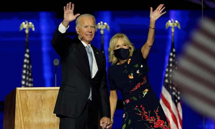 Joe and Jill Biden in Wilmington, Delaware, on 7 November 2020.
