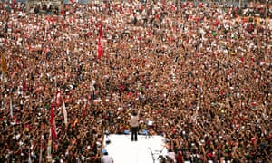 Joko Widodo addresses a crowd in Jakarta during the 2014 election campaign that saw him elected as Indonesia's president.