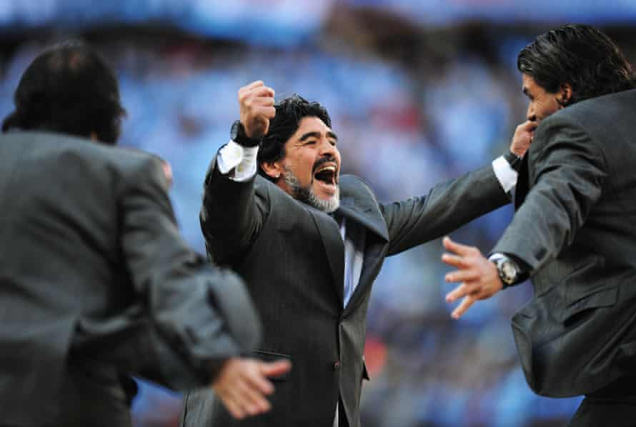 Diego Maradona was Argentina manager at the 2010 World Cup. Here he celebrates a goal against South Korea.