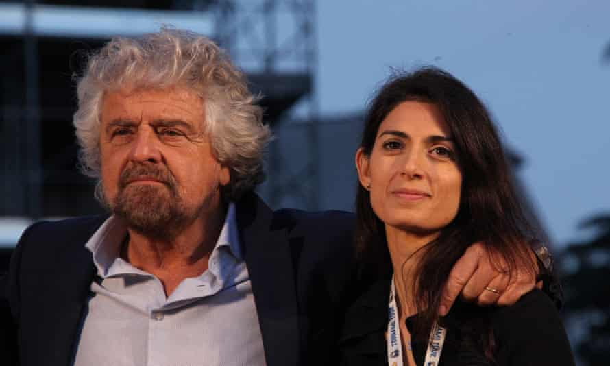 The Five Star Movement's founder, Beppo Grillo, left, with its mayor of Rome, Virginia Raggi