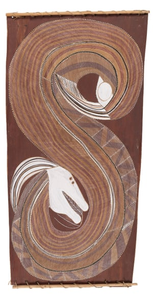Ngalyod c.1981earth pigments on Stringybark (Eucalyptus tetrodonta)