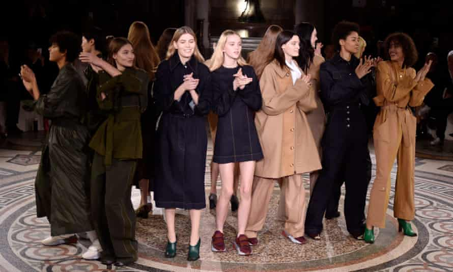 Animal-friendly fabrics in muted hues at the Stella McCartney show.