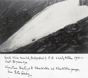 The celebrated Scottish naturalist Seton Gordon (1886–1977) came to record and photograph Sphinx snow patch in October 1910. He used the photograph as a Christmas greeting card. The image is taken from the book It's a Fine Day for the Hill by Adam Watson