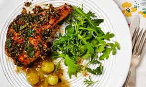 Thomasina Miers' herby pork chops with warm gooseberry sauce.