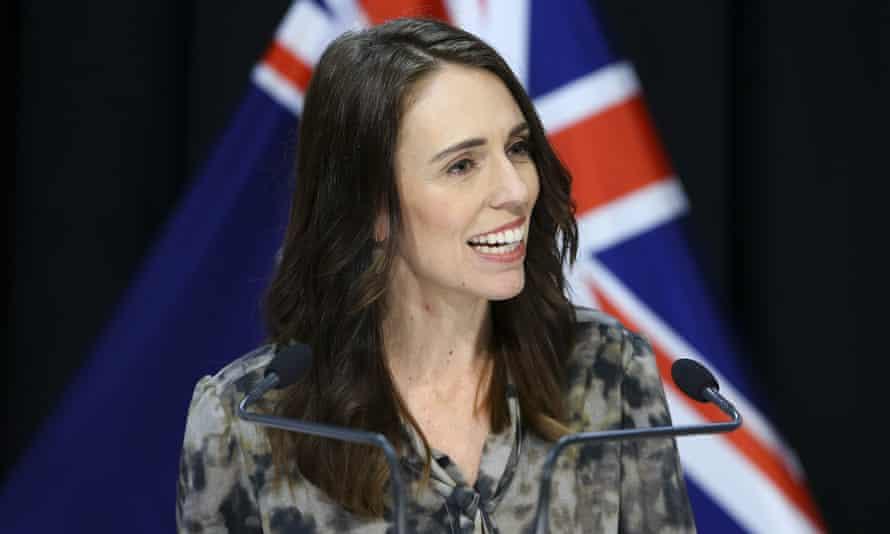 Prime Minister Jacinda Ardern speaks to media during a press conference a New Zealand lockdown measures ease slightly