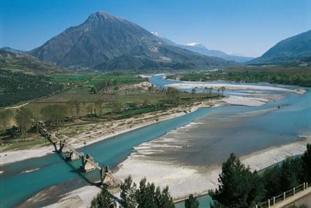 The river Vjosa in Tepelena, Albania.