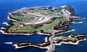Aerial of Isla de Valdecañas in Extramadura, Spain