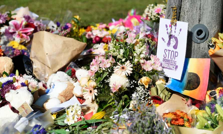 Flowers at the scene where Hannah Clarke and her children were killed in Brisbane