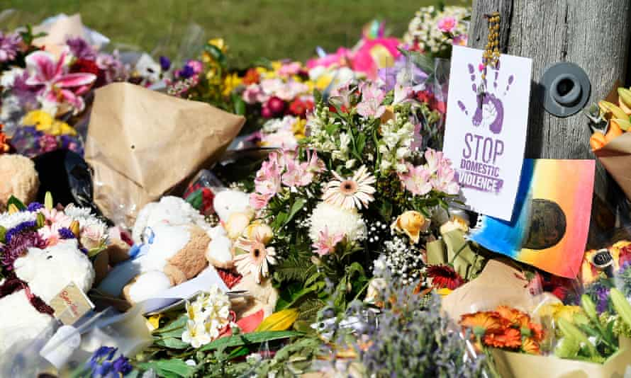 Flowers and other items at the scene where Hannah Clarke and her three children were killed in Brisbane.
