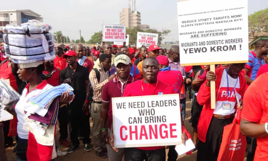 Ghanaian workers march through Accra's streets in mid-January to show their dismay at recent price hikes and taxes.