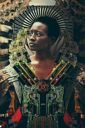 Technical components, computer circuit boards and mechanical parts are interwoven with the portraits of the workers. Karmali took pictures of rubbish to create his collages, combining them with photos of the crafters, replicating the cut-and-mix jua kali style