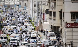 Saudi ambulances arrive with pilgrims who were injured in a stampede at the hajj in September.