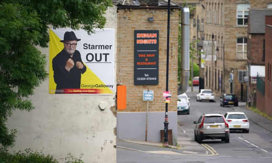 George Galloway's campaign poster for the Workers Party of Britain on 14 June in Batley, West Yorkshire